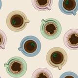 Modelo inconsútil de las tazas del té y de café Ejemplo de la visión superior stock de ilustración