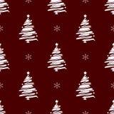 Modelo inconsútil de las vacaciones de invierno de la Navidad del Año Nuevo con el árbol de navidad blanco imagenes de archivo