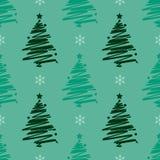 Modelo inconsútil de las vacaciones de invierno de la Navidad del Año Nuevo con el árbol de navidad y el copo de nieve verdes imágenes de archivo libres de regalías