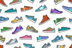 Modelo inconsútil de las zapatillas de deporte ilustración del vector