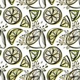 Modelo inconsútil de limones dibujados mano estilizada Imagenes de archivo