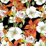 Modelo inconsútil de lirios anaranjados con las flores blancas Imagen de archivo libre de regalías