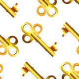 Modelo inconsútil de llaves de oro Imagen de archivo libre de regalías