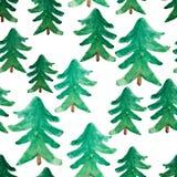Modelo inconsútil de los árboles de navidad de la acuarela Paisaje de la acuarela del invierno Árbol de navidad de la acuarela La Fotografía de archivo