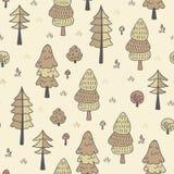 Modelo inconsútil de los árboles forestales Dé el fondo exhausto con los pinos, la hierba, los arbustos y las setas en estilo del Imagenes de archivo