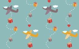 Modelo inconsútil de los aeroplanos del regalo Imagen de archivo libre de regalías
