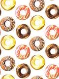 Modelo inconsútil de los anillos de espuma Lápices dibujados mano de la acuarela Fotos de archivo libres de regalías
