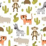 Modelo inconsútil de los animales lindos del safari ilustración del vector