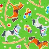 Modelo inconsútil de los caballos de oscilación ilustración del vector