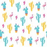 Modelo inconsútil de los cactus en un fondo blanco Imagen de archivo