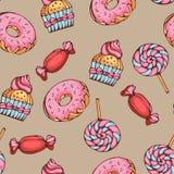Modelo inconsútil de los caramelos y de los lollypops de los anillos de espuma Imágenes de archivo libres de regalías