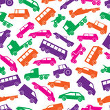 Modelo inconsútil de los coches de los iconos simples del color Fotos de archivo libres de regalías