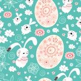 Modelo inconsútil de los conejitos y de los huevos de pascua ilustración del vector