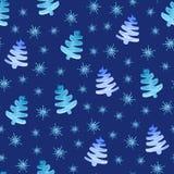 Modelo inconsútil de los copos de nieve de los árboles de navidad ilustración del vector
