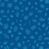 Modelo inconsútil de los copos de nieve de la Feliz Navidad y de la Feliz Año Nuevo Perfeccione para el papel o la materia textil stock de ilustración