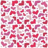 Modelo inconsútil de los corazones de la tarjeta del día de San Valentín Imagen de archivo libre de regalías