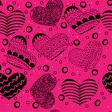 Modelo inconsútil de los corazones de la tarjeta del día de San Valentín con los corazones Imagenes de archivo