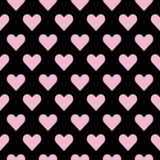 Modelo inconsútil de los corazones en rosa sobre negro Fondo de la teja del día de la tarjeta del día de San Valentín s libre illustration