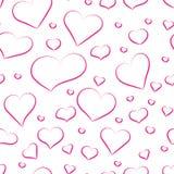 Modelo inconsútil de los corazones rosados para el fondo Fotos de archivo