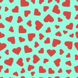 Modelo inconsútil de los corazones simples Fondo del día de tarjetas del día de San Valentín Textura caótica sin fin del diseño p Imagen de archivo libre de regalías