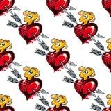 Modelo inconsútil de los corazones y de las flechas de la tarjeta del día de San Valentín Fotografía de archivo