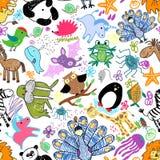 Modelo inconsútil de los dibujos de los niños con los animales ilustración del vector