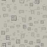 Modelo inconsútil de los dibujos del ` s de los niños de ventanas Foto de archivo