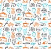 Modelo inconsútil de los doodles del alimento Imágenes de archivo libres de regalías