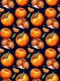 Modelo inconsútil de los ejemplos del garabato del color de la mandarina en fondo oscuro libre illustration