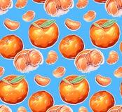 Modelo inconsútil de los ejemplos de la historieta del color de la mandarina en fondo azul Textura del vector ilustración del vector