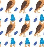 Modelo inconsútil de los ejemplos de la Navidad de la acuarela con los búhos en sombreros en manoplas Tema del Año Nuevo del invi ilustración del vector