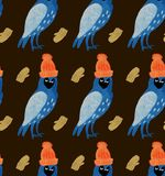 Modelo inconsútil de los ejemplos de la Navidad de la acuarela con los búhos en sombreros en manoplas Tema del Año Nuevo del invi stock de ilustración