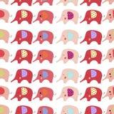 Modelo inconsútil de los elefantes del color de la historieta ilustración del vector