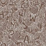 Modelo inconsútil de los garabatos decorativos abstractos de las letras. Foto de archivo libre de regalías