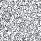 Modelo inconsútil de los garabatos decorativos abstractos de las letras Fotografía de archivo