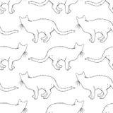 Modelo inconsútil de los gatos Página del libro de colorear Imágenes de archivo libres de regalías