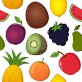 Modelo inconsútil de los iconos de la fruta en blanco Fotografía de archivo