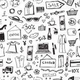 Modelo inconsútil de los iconos de las compras del garabato libre illustration