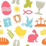 Modelo inconsútil de los iconos de Pascua stock de ilustración