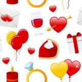 Modelo inconsútil de los iconos del día de la tarjeta del día de San Valentín s Fotografía de archivo