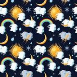 Modelo inconsútil de los iconos del tiempo con el sol, las nubes, la luna, el arco iris, la lluvia, la nieve y el relámpago libre illustration