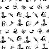 Modelo inconsútil de los iconos de Halloween libre illustration
