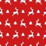 Modelo inconsútil de los iconos de la Navidad con el árbol y los ciervos del Año Nuevo Papel pintado feliz de la reconstrucción d libre illustration