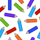 Modelo inconsútil de los lápices coloreados dispersados Fotografía de archivo libre de regalías