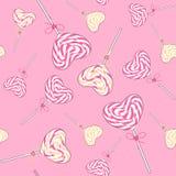 Modelo inconsútil de los lollipops del caramelo Fotografía de archivo