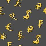 Modelo inconsútil de los mismos tamaños principales de las muestras de moneda del dinero en gris Ilustración del vector libre illustration