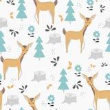 Modelo inconsútil de los niños con los ciervos y la fauna lindos Diseño, impresión y materias textiles del vector stock de ilustración