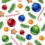 Modelo inconsútil de los ornamentos de la Navidad y de los bastones de caramelo imágenes de archivo libres de regalías