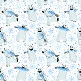 Modelo inconsútil de los osos polares con los pescados y los copos de nieve Parte posterior linda Fotografía de archivo libre de regalías
