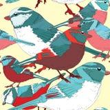 Modelo inconsútil de los pájaros coloridos Ejemplo del vector en fondo amarillo Pájaros con los feathres blancos, púrpuras, rosad Fotos de archivo